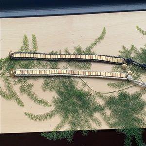 Jcrew leather and metal bracelets